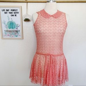 Free People One Lace Tunic Peter Pan Collar Sz S
